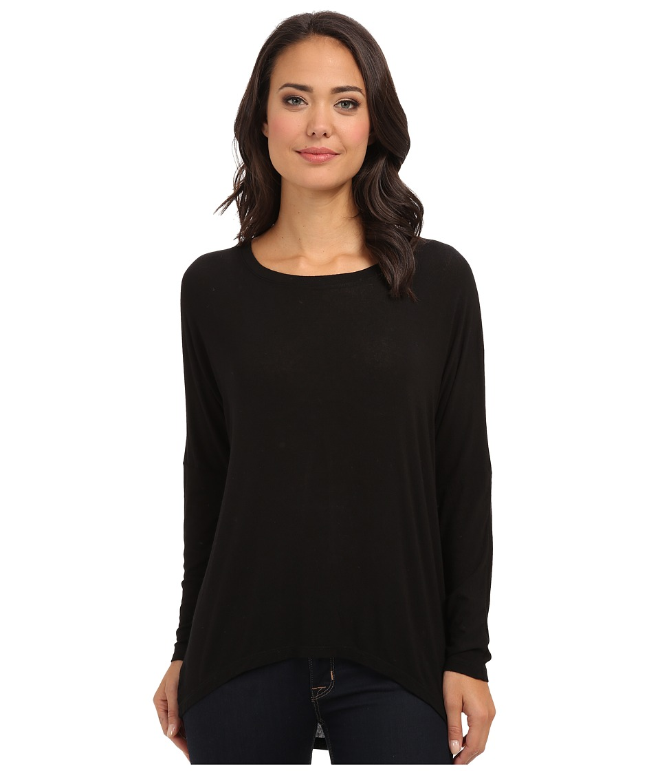 Allen Allen - Rayon Jersey L/S Drop Shoulder Scoop Top (Black) Women's T Shirt