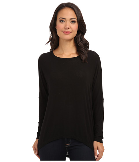 Allen Allen - Rayon Jersey L/S Drop Shoulder Scoop Top (Black) Women