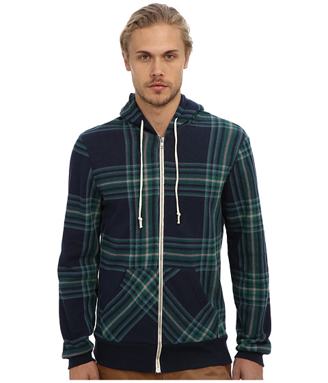 Alternative - Printed Rocky Zip Hoodie (Eco True Midnight Plaid) Men's Sweatshirt