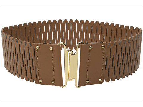Vince Camuto - 63mm Perforated Stretch Panel w/ Gold Interlock (Luggage) Women's Belts