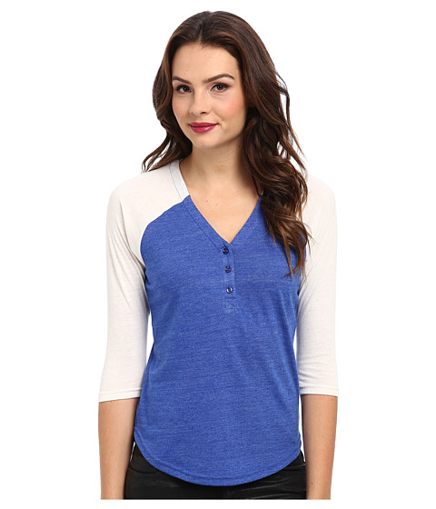 Alternative - Eco Jersey Raglan Henley (Eco True Pacific Blue/Eco Ivory) Women's Long Sleeve Pullover