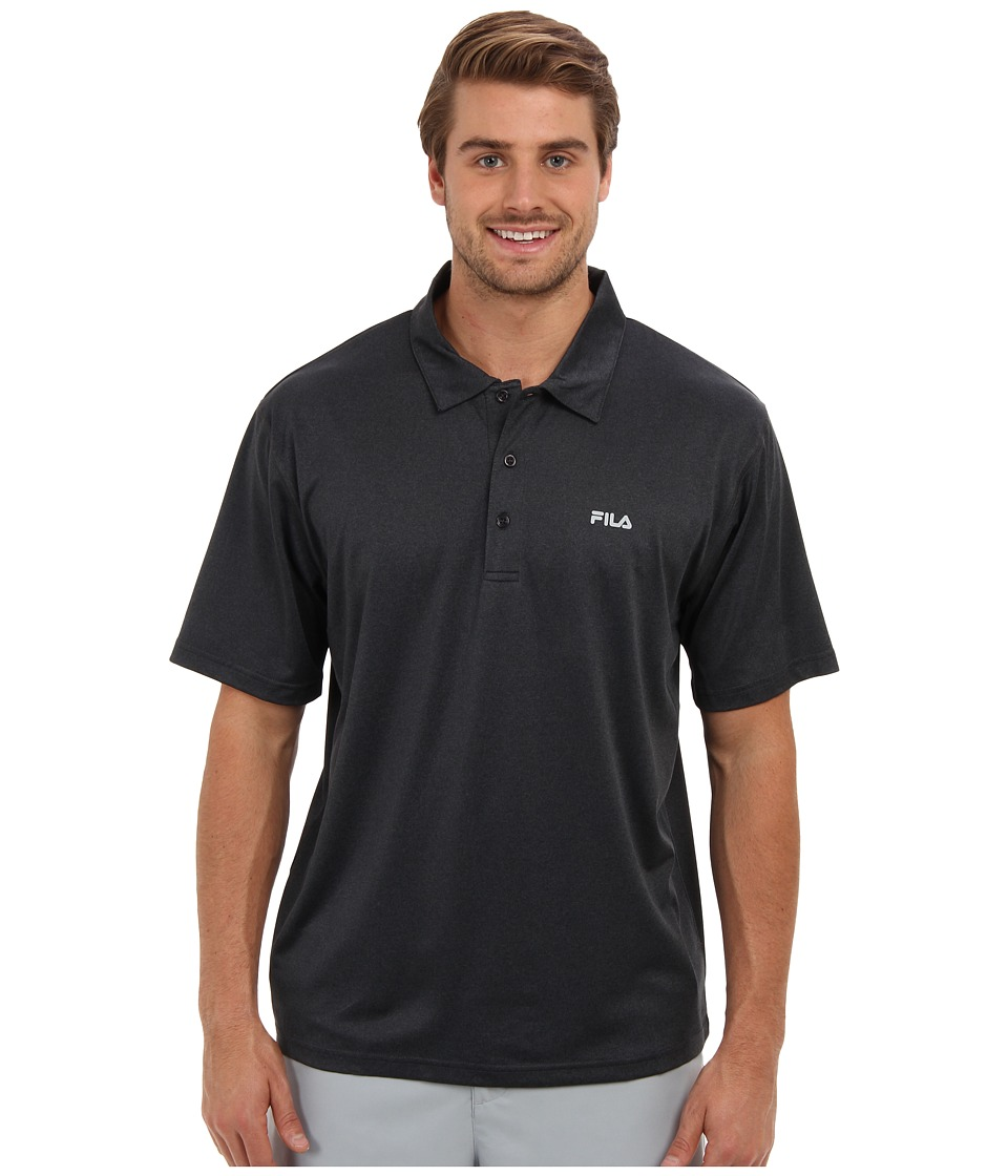 Fila - Performance Heather Polo (Black Heather) Men's Short Sleeve Pullover
