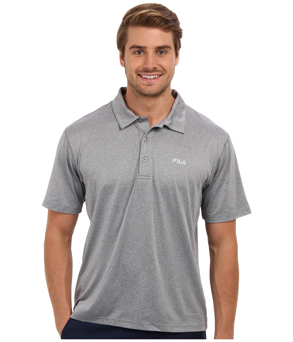 Fila - Performance Heather Polo (Grey Heather) Men's Short Sleeve Pullover