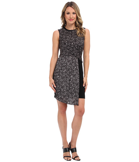 DKNYC - Sleeveless Faux Wrap Dress w/ Ponte Skirt and Faux Leather Trim (Storm Grey Combo/Black) Women
