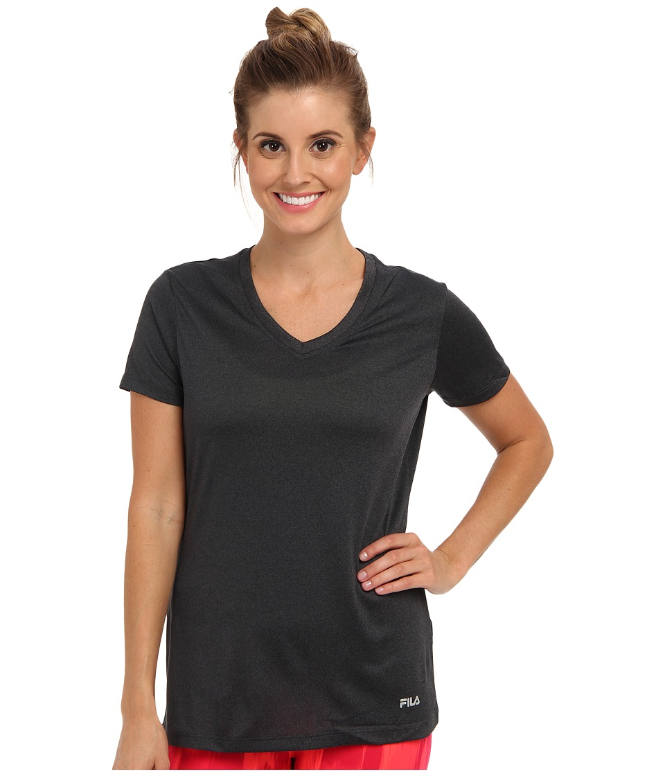 Fila - Short Sleeve Fitness Top (Black Heather) Women's Short Sleeve Pullover