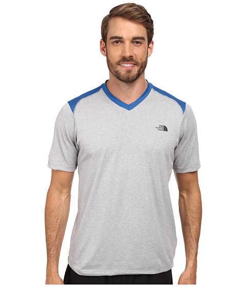The North Face - Reactor S/S V-Neck (Monument Grey Heather/Snorkel Blue) Men
