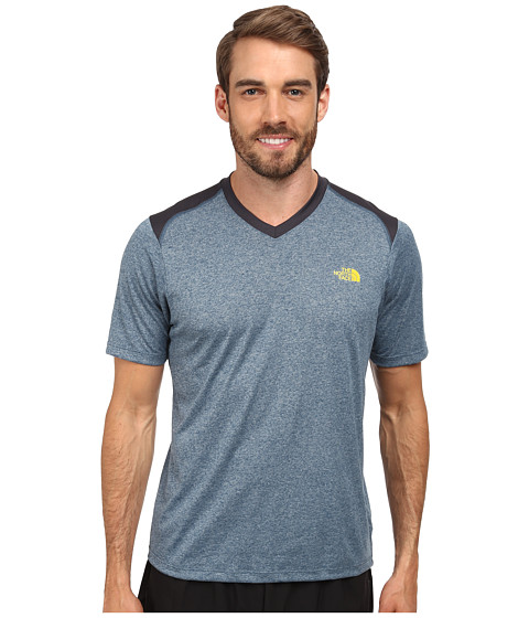 The North Face - Reactor S/S V-Neck (Diesel Blue Heather/Acid Yellow) Men