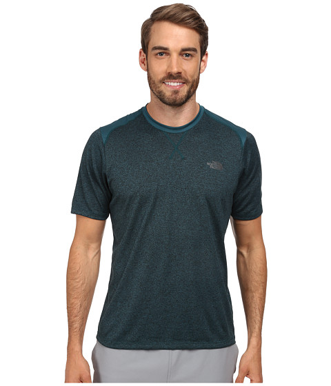 The North Face - Reactor S/S Crew (Deep Teal Green Heather/Deep Teal Green) Men