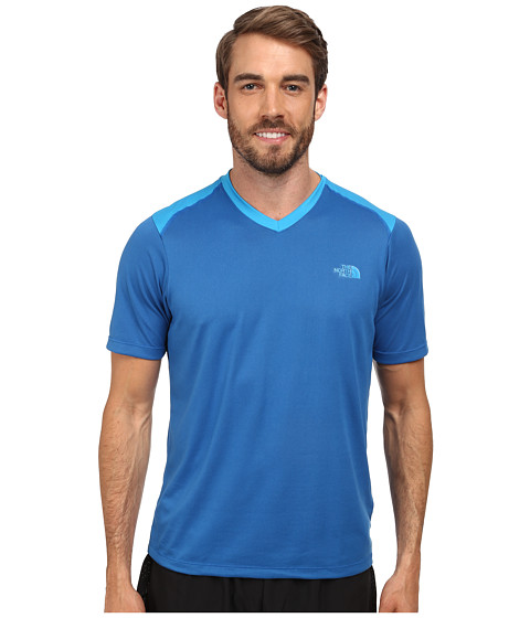 The North Face - Reactor S/S V-Neck (Snorkel Blue/Quill Blue) Men