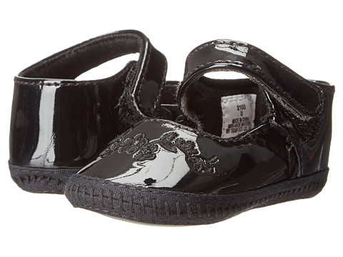 Baby Deer - Skimmer w/ Hook Loop Strap (Infant) (Black Patent) Girls Shoes