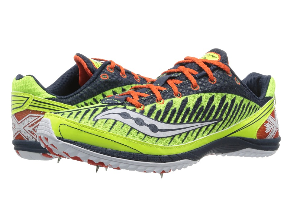 Saucony - Kilkenny XC5 Spike (Citron/Navy/Red) Men's Running Shoes