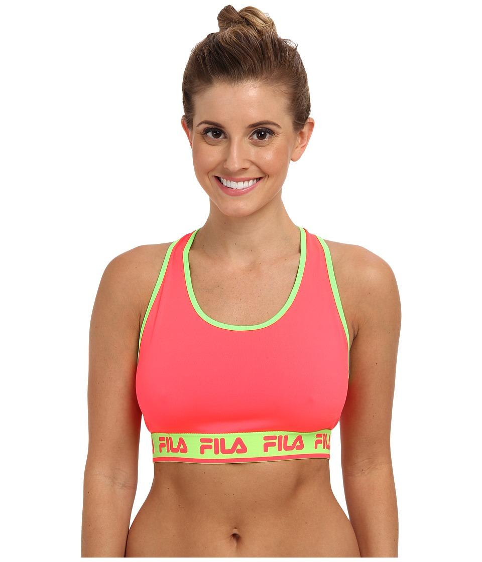 Fila - Logo Elastic Bra (Diva Pink/Green Gecko) Women's Bra