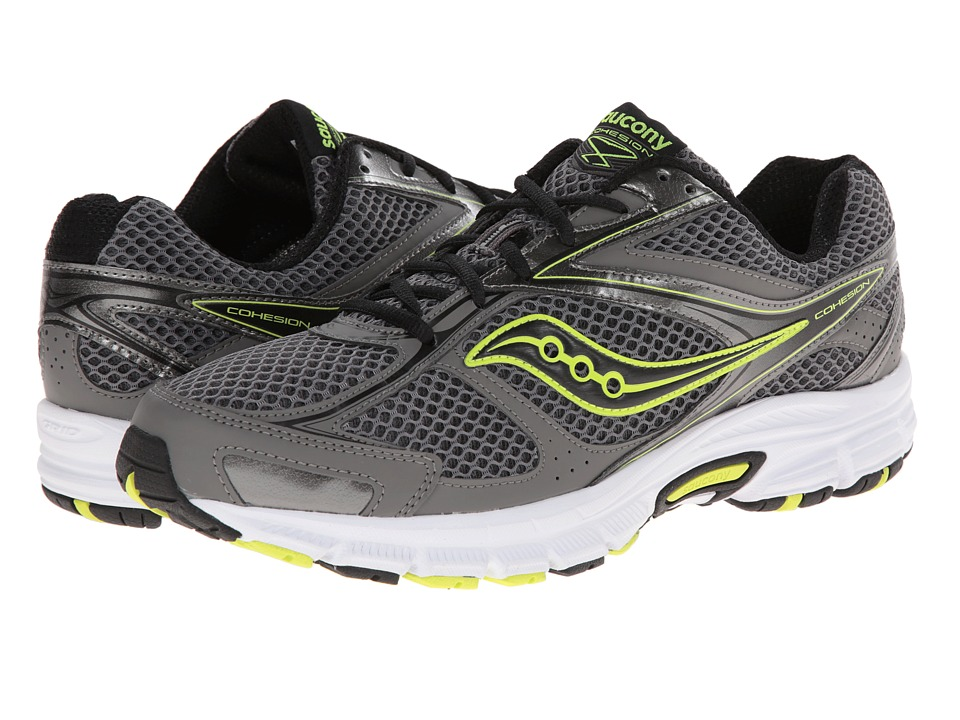 Saucony - Cohesion 8 (Grey/Black/Citron) Men's Running Shoes