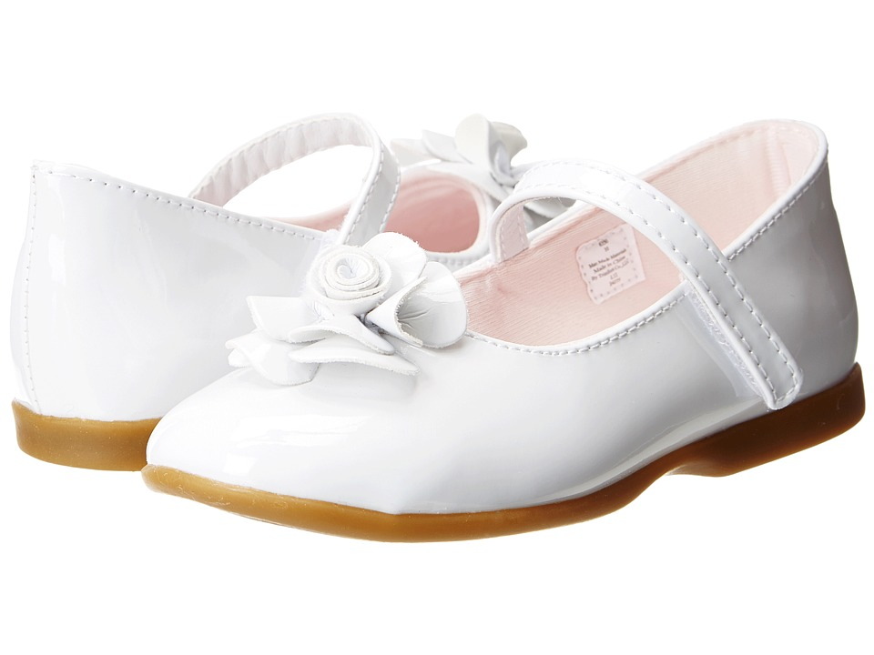 Baby Deer - Mary Jane w/ Bow (Infant/Toddler) (White Patent) Girls Shoes