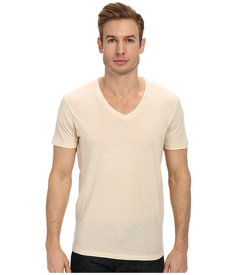Alternative - V-gan Organic V-Neck (Earth Natural) Men's Short Sleeve Pullover