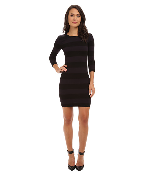 French Connection - Manhattan Winter Stripe Whisper Ruth 71CLO (Black/Utility Blue) Women's Dress