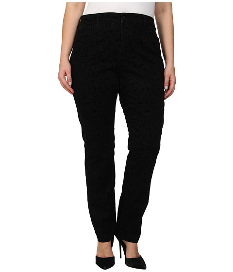 NYDJ Plus Size - Plus Size Samantha Slim in Medallion Flocking Black (Medallion Flocking Black) Women's Jeans
