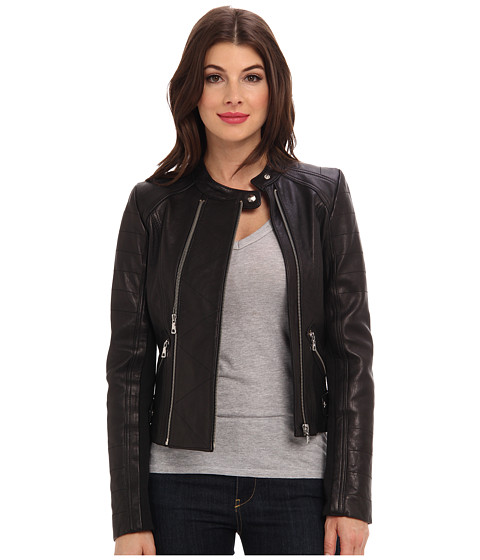 Sam Edelman - Double Zip Leather Moto (Black) Women's Coat