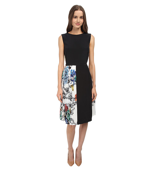 tibi - Sleeveless Dress with CDC Overlay (White Multi) Women's Dress