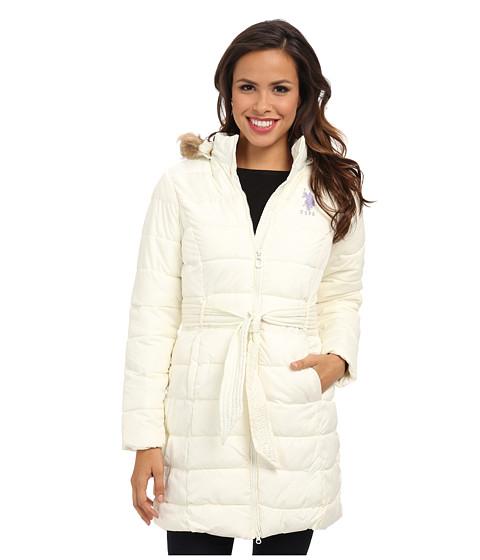 U.S. POLO ASSN. - Long Hooded Puffer Jacket w/ Self Belt (Oat) Women's Coat