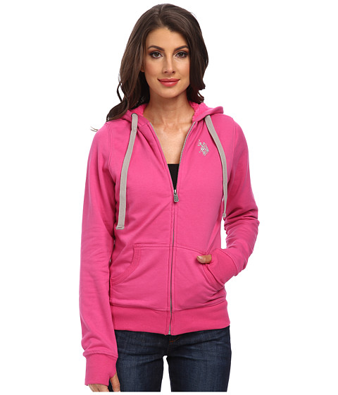 U.S. POLO ASSN. - Solid Fleece Hooded Jacket w/ Colored Sherpa Lining (Pink Peak) Women