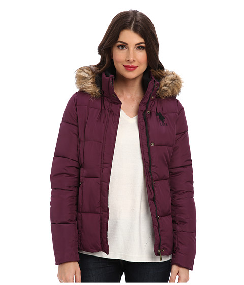 U.S. POLO ASSN. - Hooded Puffer Jacket w/ Elastic Waist Tabs (Merlot) Women's Coat