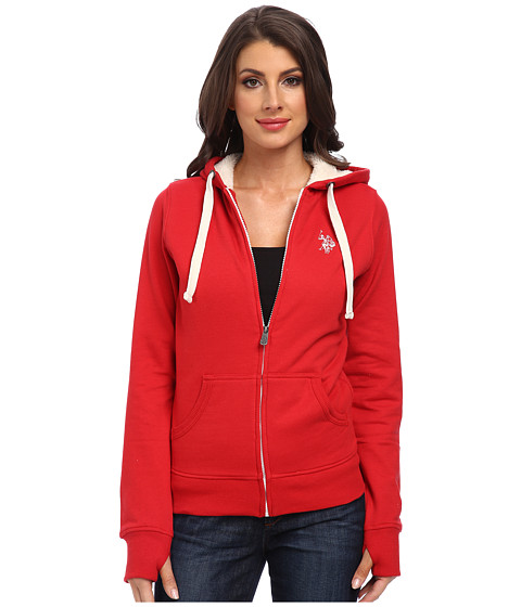 U.S. POLO ASSN. - Solid Fleece Hooded Jacket w/ Colored Sherpa Lining (Seeing Red) Women