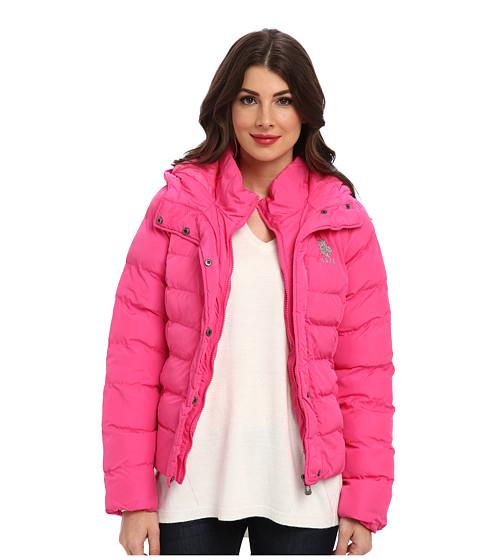 U.S. POLO ASSN. - Classic Puffer Jacket w/ Hood (Pink Peak) Women's Coat