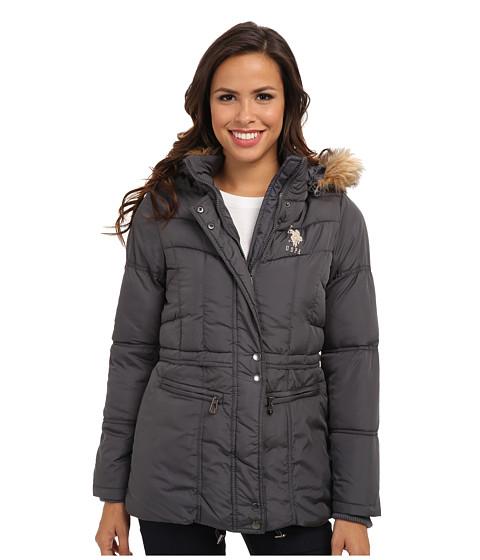 U.S. POLO ASSN. - Hooded Jacket w/ Zip Pockets (New Grey) Women