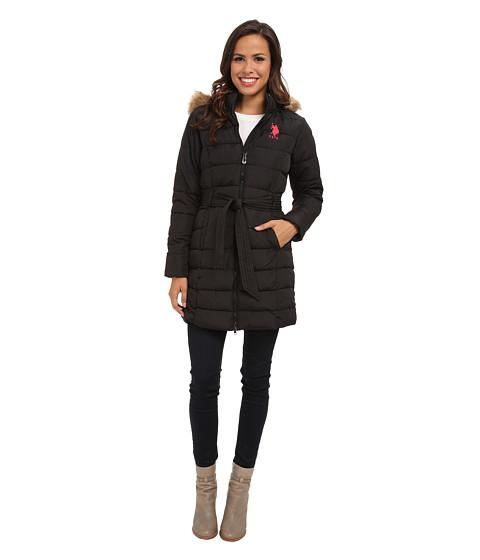 U.S. POLO ASSN. - Long Hooded Puffer Jacket w/ Self Belt (Black) Women's Coat