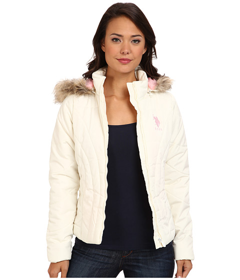 U.S. POLO ASSN. - Puffer Jacket w/ Hood (Oat) Women's Coat