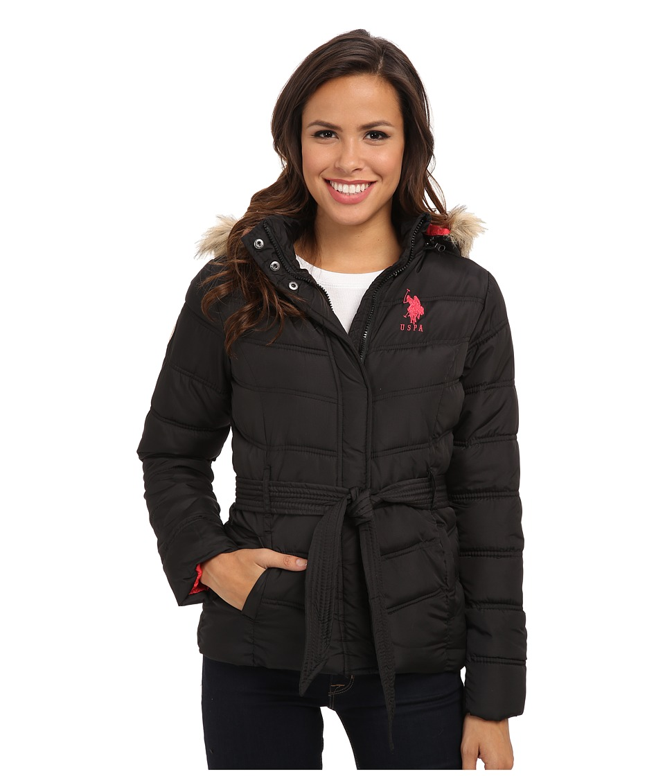U.S. POLO ASSN. - Self Tie Puffer Jacket w/ Faux Fur Trimmed Hood (Black) Women's Coat