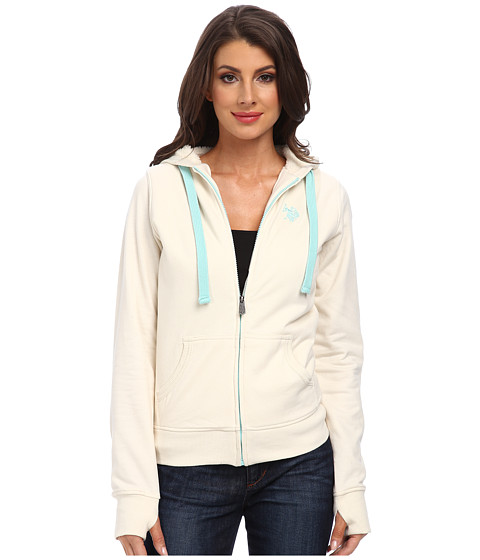 U.S. POLO ASSN. - Solid Fleece Hooded Jacket w/ Colored Sherpa Lining (Oat) Women