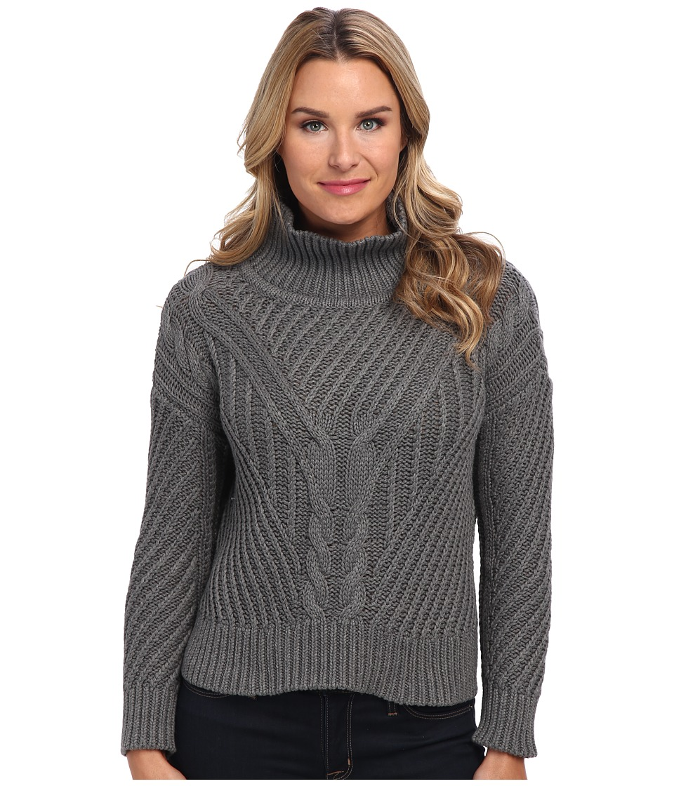 525 america - Hi/Low Mock Cable (Dark Heather Grey) Women's Sweater