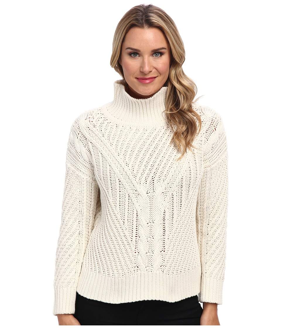 525 america - Hi/Low Mock Cable (White Cap Combo) Women's Sweater