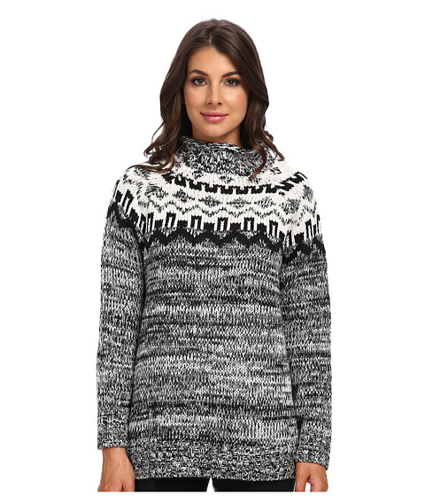 525 america - Tweed Fairisle Yoke Tunic (Black) Women's Sweater