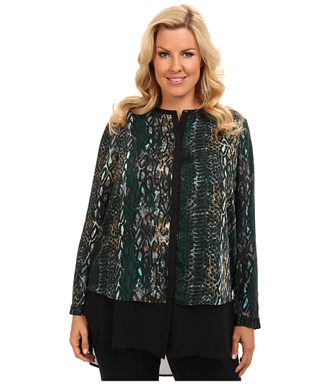 DKNYC - Plus Size L/S Chiffon Double Layer Button Thru Blouse (Moonlight Green) Women