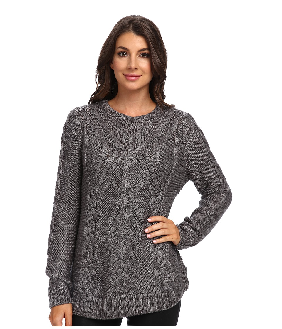 525 america - Traveling Cable Crew (Med Heather Grey) Women's Sweater