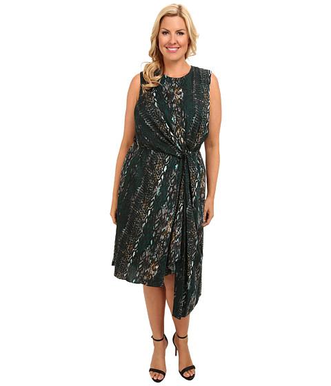 DKNYC - Plus Size Sleeveless Knotted Asymmetric Dress (Moonlight Green) Women's Dress