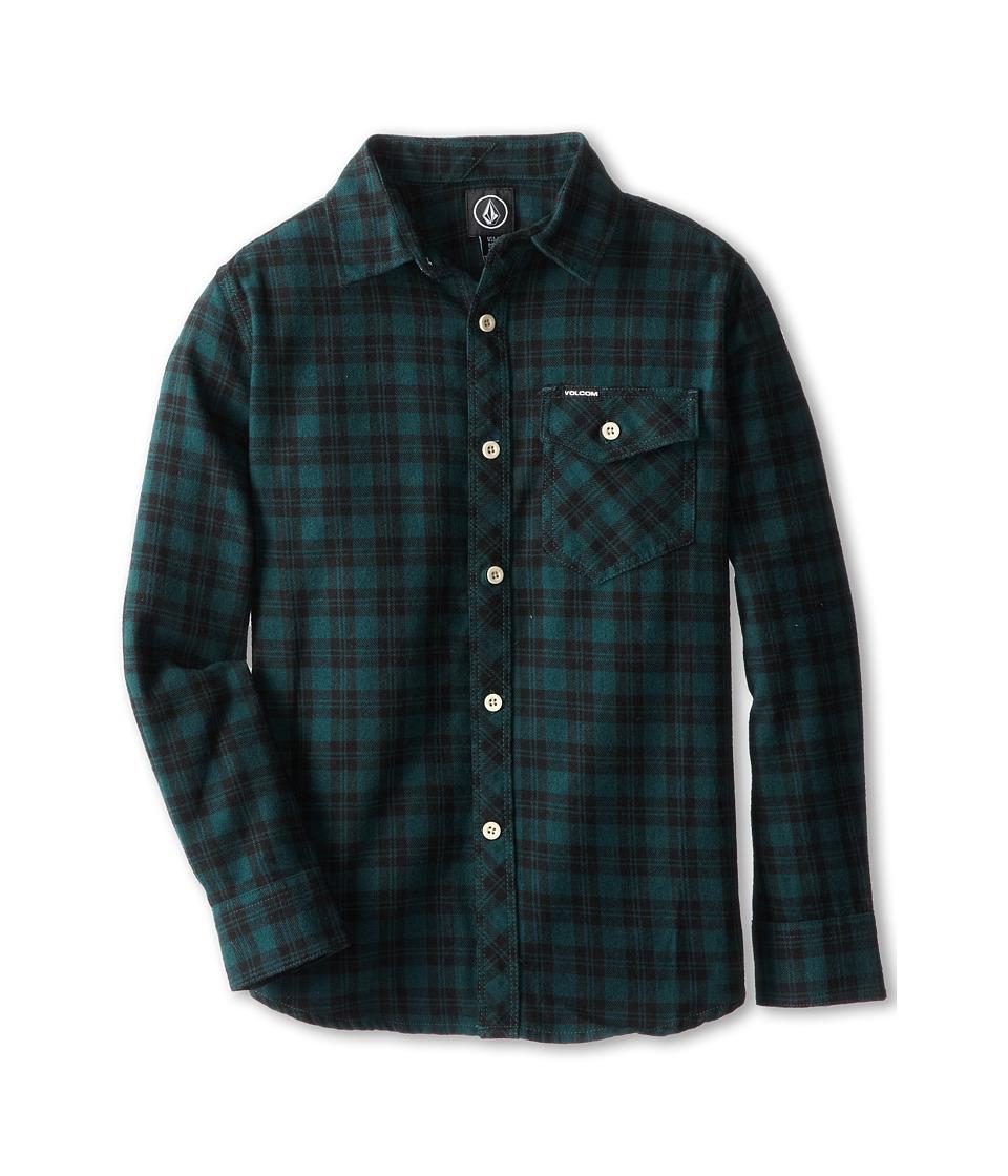 Volcom Kids - Flartin L/S (Big Kids) (Midnight Green) Boy's Long Sleeve Button Up