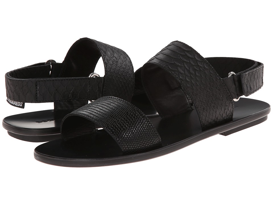 DSQUARED2 - Stamped Lizard Cesar Sandal (Black) Men's Sandals