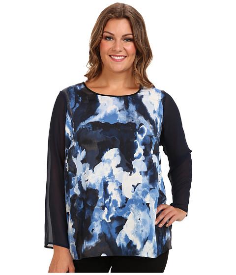 DKNYC - Plus Size Chiffon L/S Shirt Tail Hem Blouse (Blue Lake) Women