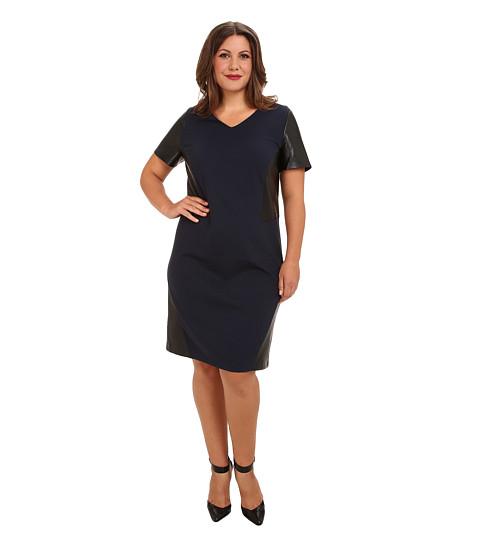 DKNYC - Plus Size S/S V-Neck Faux Leather Pieced Dress (Nightfall) Women's Dress