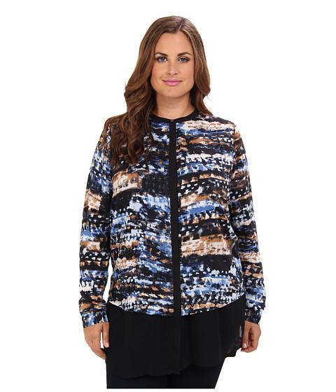 DKNYC - Plus Size L/S Chiffon Double Layer Button Thru Blouse (Blue Lake) Women