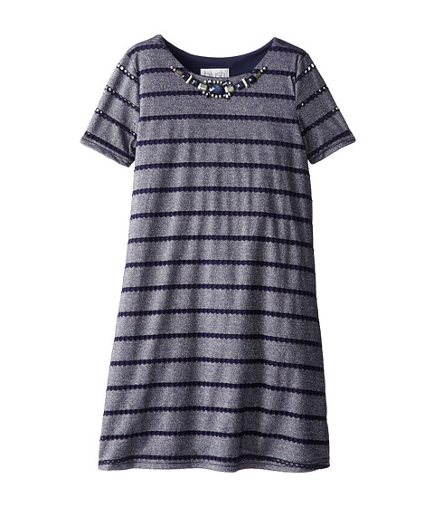 Us Angels - Pointelle Knit S/S Sheath Dress (Big Kids) (Navy) Girl