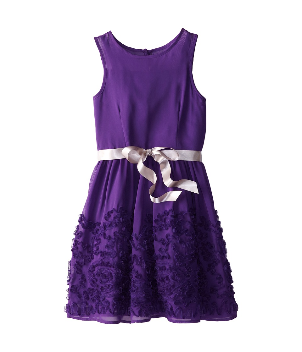 Us Angels - Chiffon Lace Belted Full Skirt Dress (Big Kids) (Plum) Girl