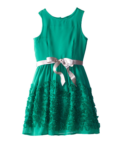 Us Angels - Chiffon Lace Belted Full Skirt Dress (Big Kids) (Emerald) Girl's Dress