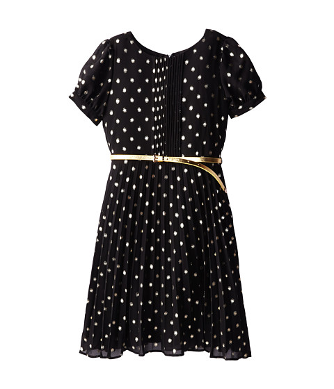 Us Angels - S/S Pleat Front Dot Print Chiffon Dress (Big Kids) (Black) Girl