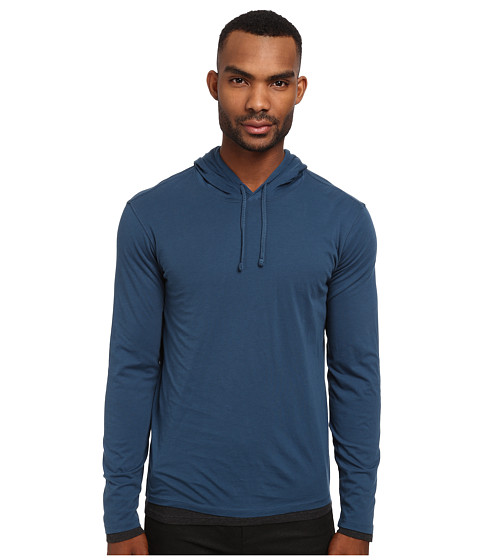 Vince - L/S Hoodie (River Blue/Heather Carbon) Men's Long Sleeve Pullover