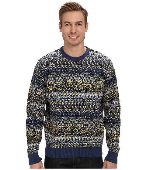 Lacoste - L!VE Multi Color Tumbler Jacquard Sweater (Jet Blue/Black/Jet Blue/Cloudy Sky Blue/Lemon/White) Men's Sweater